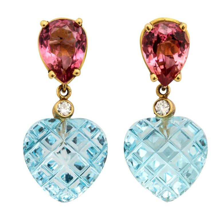 Charming Pink Tourmaline Blue Topaz Heart Earrings 1