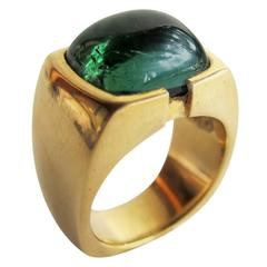 Tourmaline Cabochon Gold Gentleman's Ring