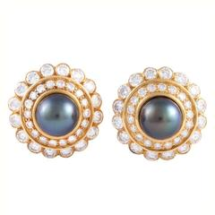 Harry Winston Tahitian Pearl  Diamond Gold Earrings