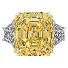 Rare Canary Intense Yellow Emerald Cut Diamond Gold Ring