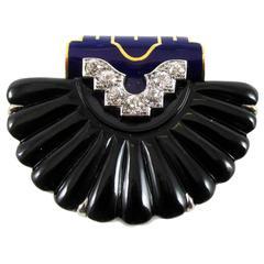 Cartier New York Art Deco Onyx Enamel Shell Clip