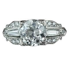 2.11 Carat GIA Cert European Cut Diamond Platinum Engagement Ring