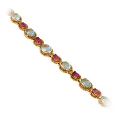 Aquamarine Pink Tourmaline Gold Bracelet