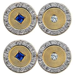 Art Deco Sapphire Diamond Gold Platinum Cufflinks