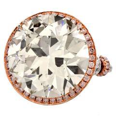 Grand European Cut 19.32 Carat Diamond Platinum Engagement Ring