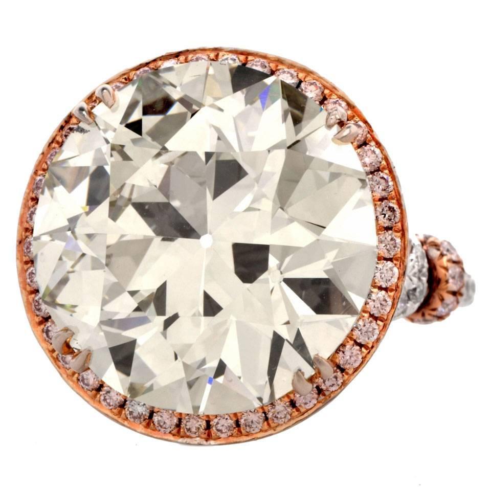 Engagement Ring For Sale Grande Prairie: Grand European Cut 19.32 Carat Diamond Platinum Engagement