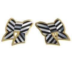 Tiffany & Co. Onyx Mother-of-Pearl Gold Bow Clip-On Earrings