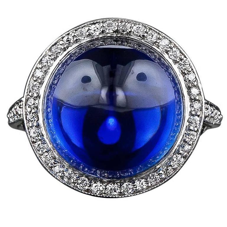 Edwardian No-Heat 15.75 Carat Gem Cabochon Sapphire Diamond Platinum Ring 1