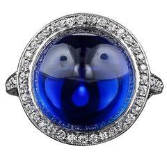 Edwardian Gem Cabochon Sapphire Diamond Platinum Ring