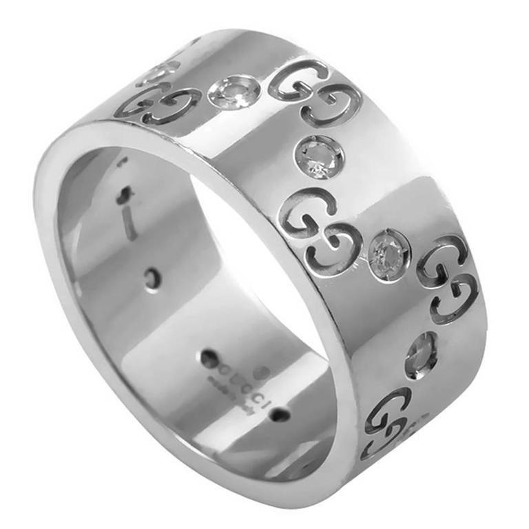 3db5a6c87 Gucci Icon Diamond Gold Band Ring at 1stdibs