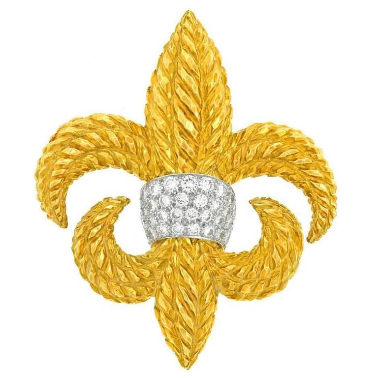 David Webb Diamond Set Fleur-de-Lis Gold Brooch