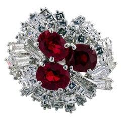 1960s Ruby Diamond Gold Ring