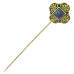 Marcus & Co. Art Nouveau Enamel Opal Gold Stick Pin