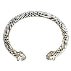 David Yurman Diamond Silver Gold Bangle Bracelet