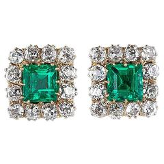 Superb Victorian Emerald Diamond Gold Earrings