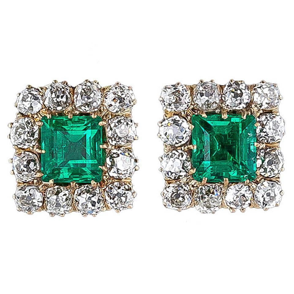 Superb Victorian Emerald Diamond Gold Earrings For Sale at 1stdibs