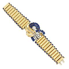 Retro 17.25 Ct. Sapphire, 1.91 Ct. F-G Diamond, Gold Clip and Bracelet