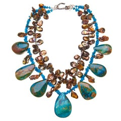Deborah Liebman Chinese Opal Sleeping Beauty Turquoise Pearl Silver Necklace