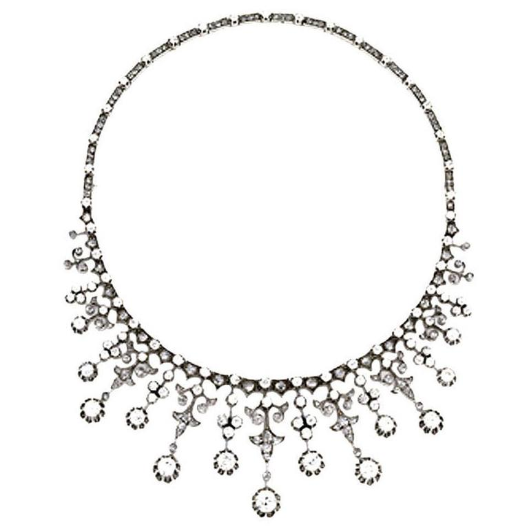 Impressive Victorian Diamond Gold Silver Platinum Necklace 1