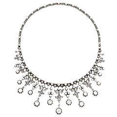 Impressive Victorian Diamond Gold Silver Platinum Necklace