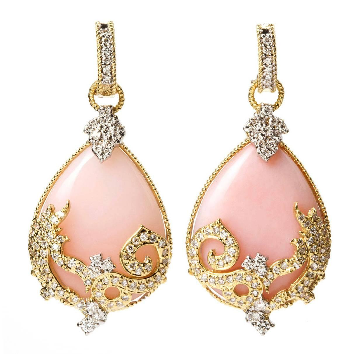 Preferred Stambolian Pink Opal Diamond Gold Drop Earrings For Sale at 1stdibs UM62