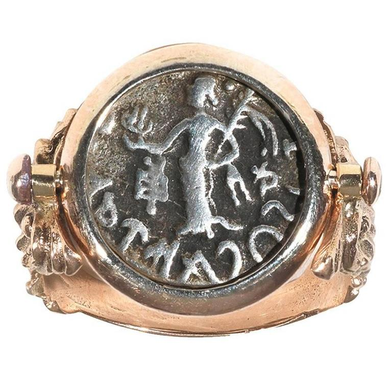 Antique Gold Swivel Ring Set with a Greek Coin 1