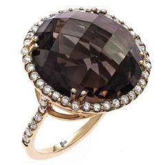 Smokey Quartz Diamond Gold Ring