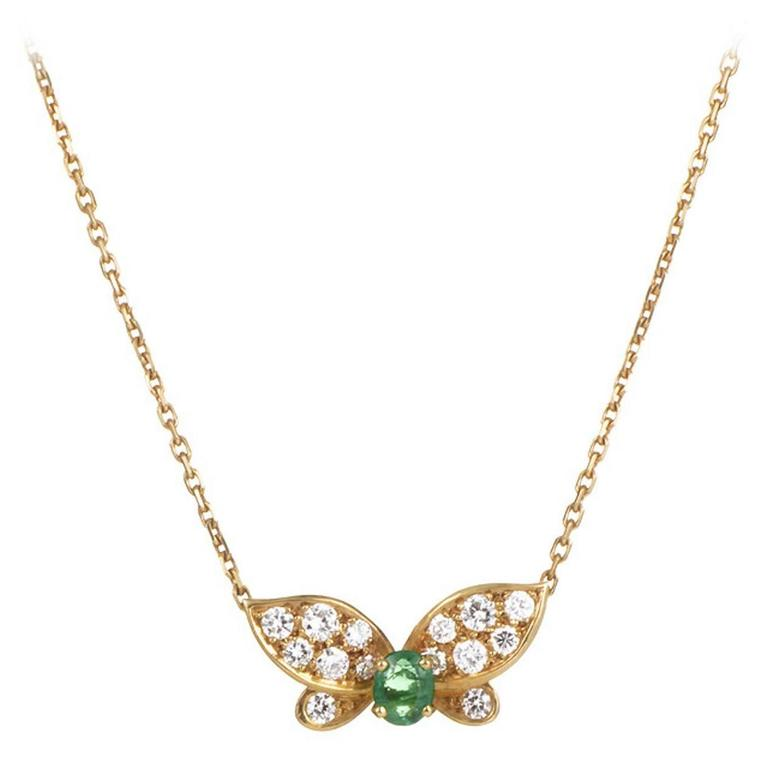 Van cleef and arpels emerald diamond gold butterfly pendant necklace van cleef arpels emerald diamond gold butterfly pendant necklace for sale aloadofball Image collections