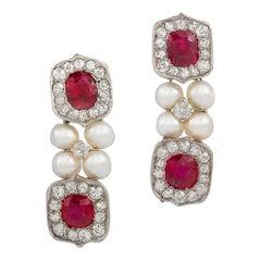 Untreated Burma Ruby and Pearl Drop Earrings