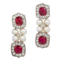 Untreated Burma Ruby and Pearl Drop Earrings