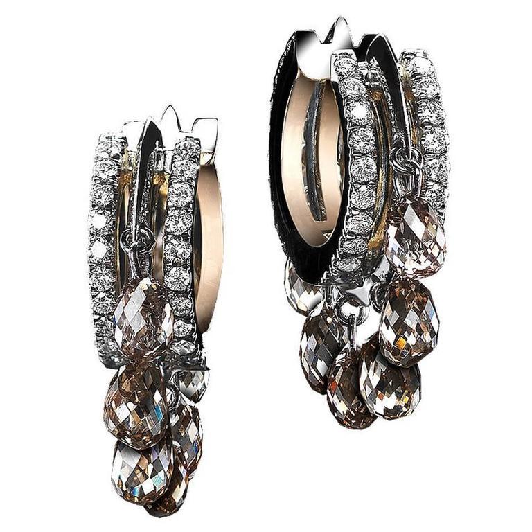 Alexandra Mor Platinum Hoop Earrings with Champagne Diamond Briolettes