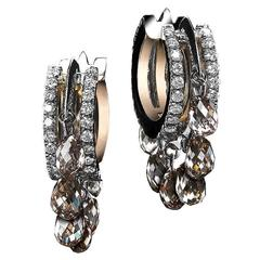 Alexandra Mor Platinum Hoop Earrings with Champagne Diamond Briolettes