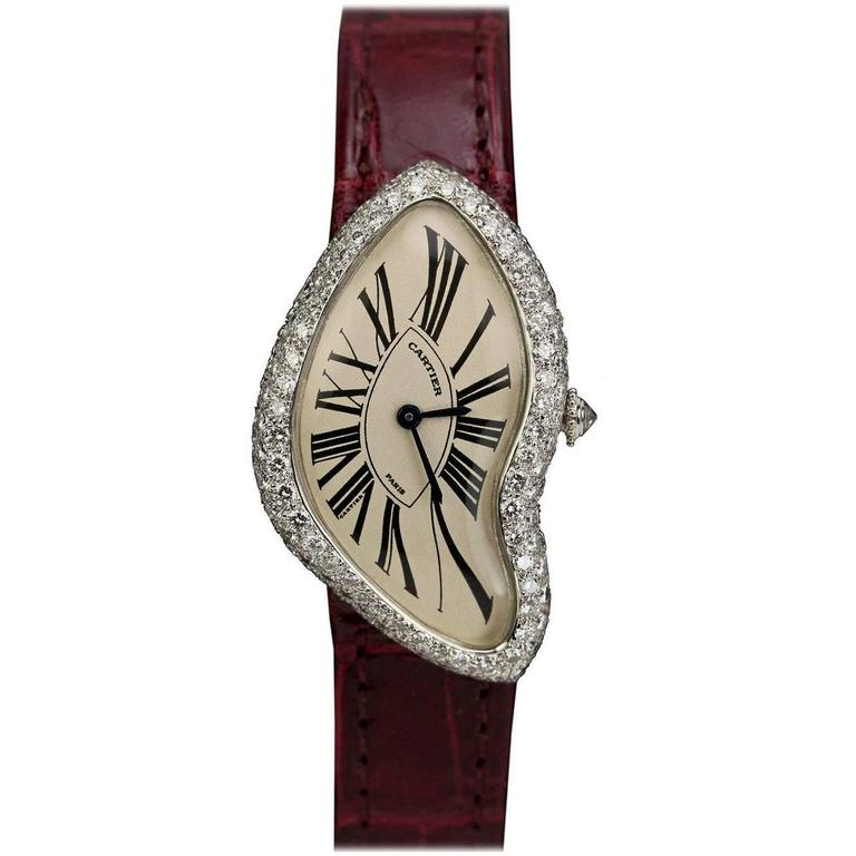 Cartier White Gold Diamond Crash Wristwatch Circa 1990s For Sale