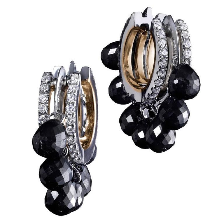 Alexandra Mor 2.61 Carat Black Diamond Briolettes Gold Platinum Hoop Earrings
