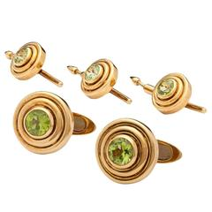 Tiffany & Co. Peridot Gold Gentleman's Dress Set