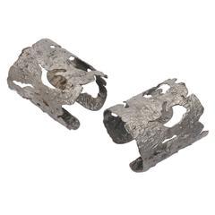 Sterling Silver Bark Cuffs