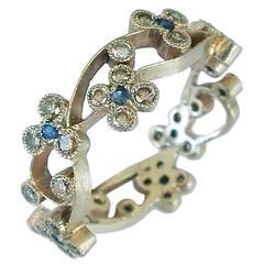 Dalben Sapphire Diamond Gold Romantic Band Ring