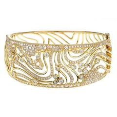 1.25 Inch Wide Diamond Gold Bangle Bracelet