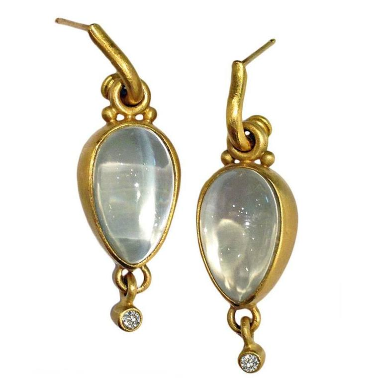 Denise Betesh Moonstone Diamond Gold Bubble Drop Earrings