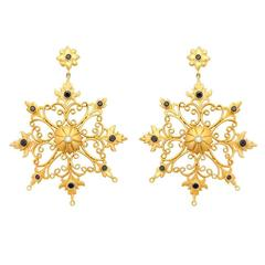 Diamond Gold Snowflake Earrings