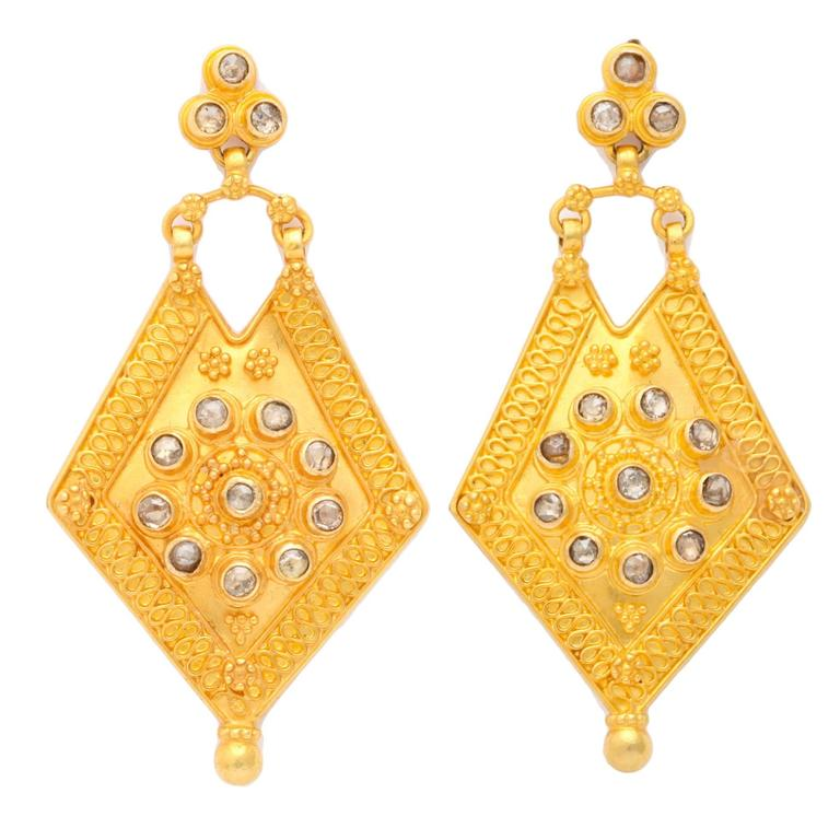Rose Cut Diamond gold shield Earrings