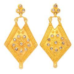 Rose Cut Diamond gold shield Earrings
