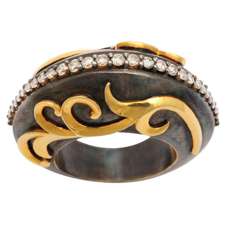 Diamond Silver Gold Mermaid Wave Ring
