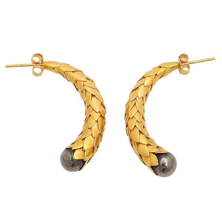 Rebecca Koven Gold Silver Feather Earrings