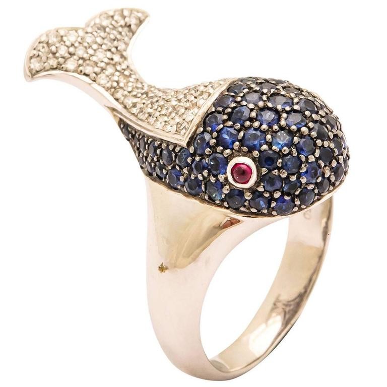 Sapphire Diamond Gold Whale Ring