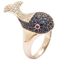 Sapphire Diamond Gold Whale Ring