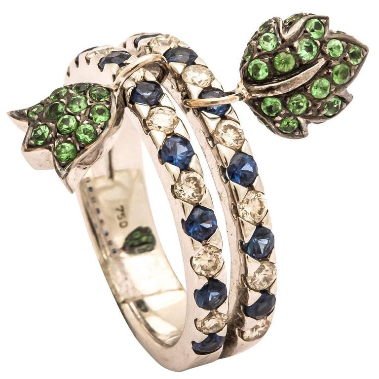 Unique Ring with Movable Green Garnet Tulip and Leaf Charms