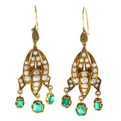 Antique 19th Century Emerald Diamond Gold Pendant Earrings