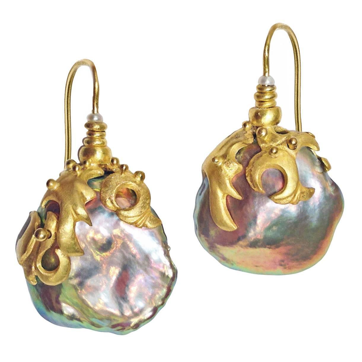 Lilly Fitzgerald Baroque Chinese Freshwater Pink Pearl Gold Earrings At 1stdibs