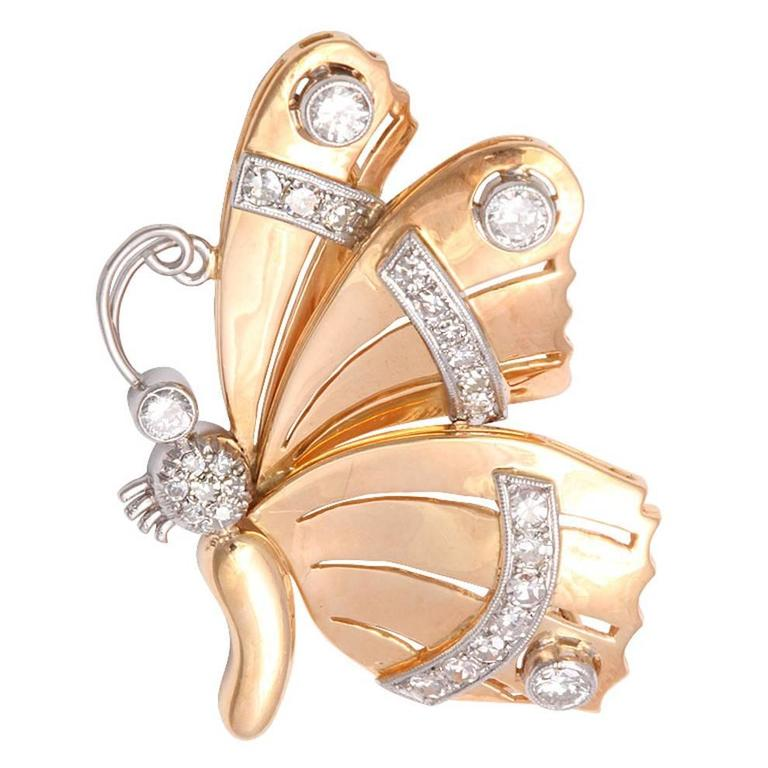 Retro Diamond Gold Butterfly Brooch Pin For Sale